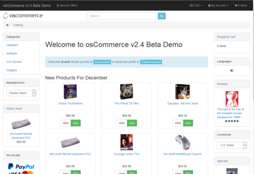 osCommerce Online Merchant v2.4.0 Joli Beta